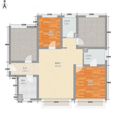 怡园新村2室1厅2卫1厨123.00㎡户型图