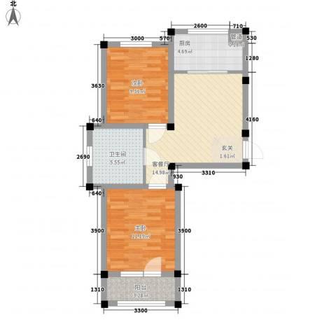 阳光上城雅居2室1厅1卫1厨67.00㎡户型图