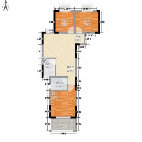 新都汇3室1厅1卫1厨87.00㎡户型图