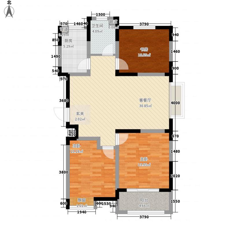 中筑蓝湾铭都3室1厅1卫1厨83.05㎡户型图