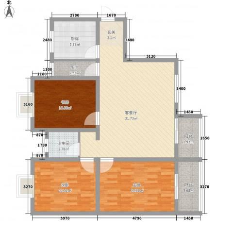 江天花园3室1厅1卫1厨123.00㎡户型图