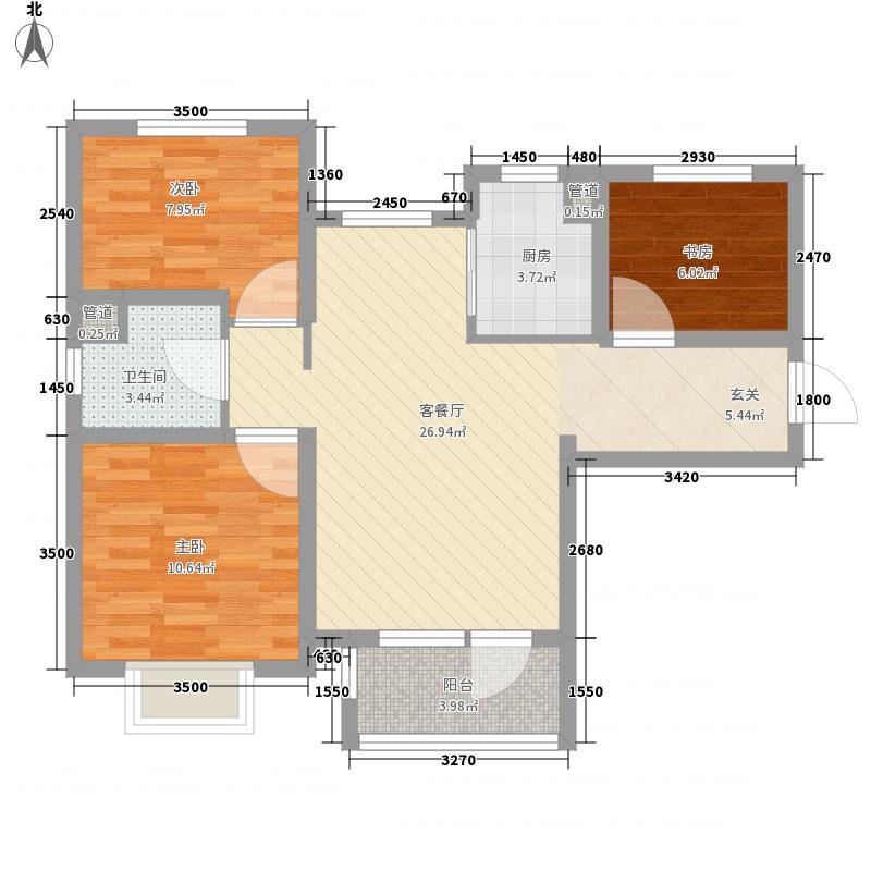 海尔时代广场・国悦公馆3室1厅1卫1厨63.09㎡户型图