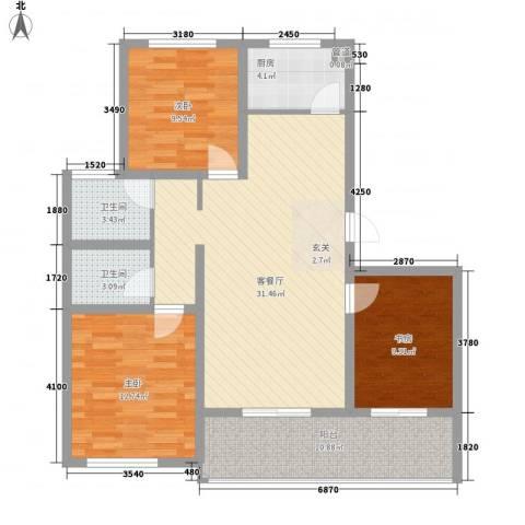 时代中通首府3室1厅2卫1厨84.64㎡户型图