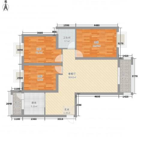 江天花园3室1厅1卫1厨114.00㎡户型图