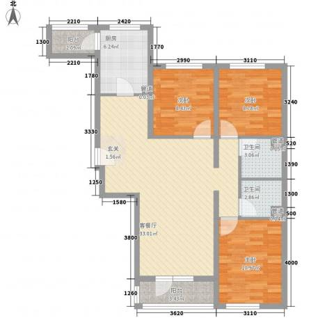 神宇国际3室1厅2卫1厨118.00㎡户型图