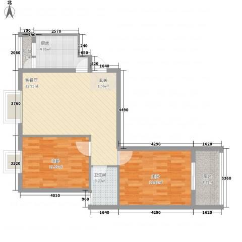 江天花园2室1厅1卫1厨85.00㎡户型图
