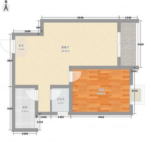 江天花园1室1厅1卫1厨75.00㎡户型图