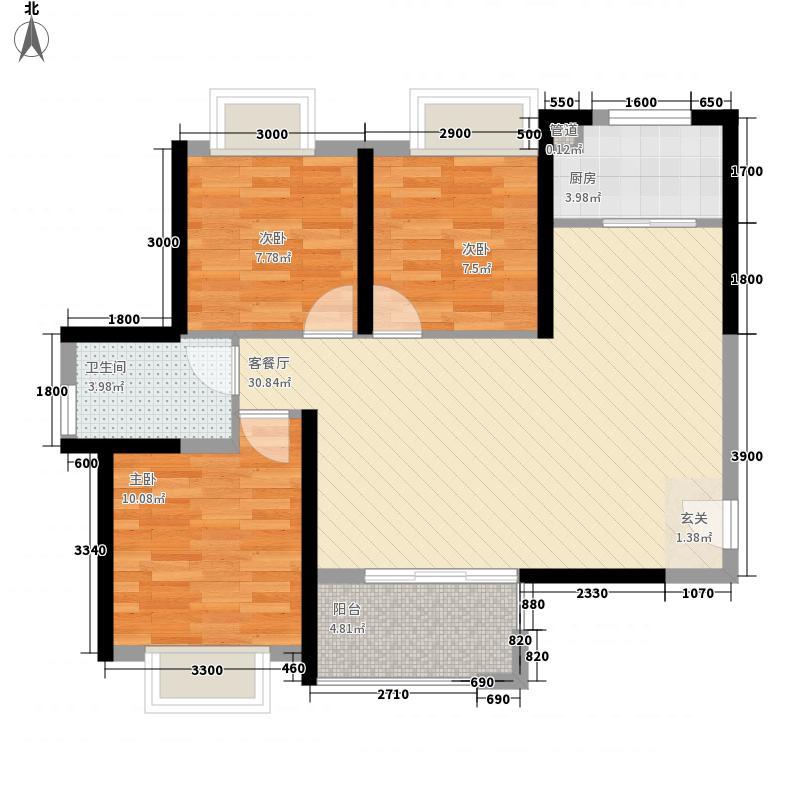 南湖巴黎春天14.00㎡6号楼A1户型3室2厅1卫1厨