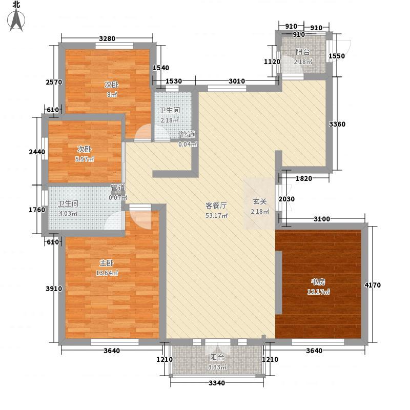 启锐园3室1厅2卫0厨92.59㎡户型图