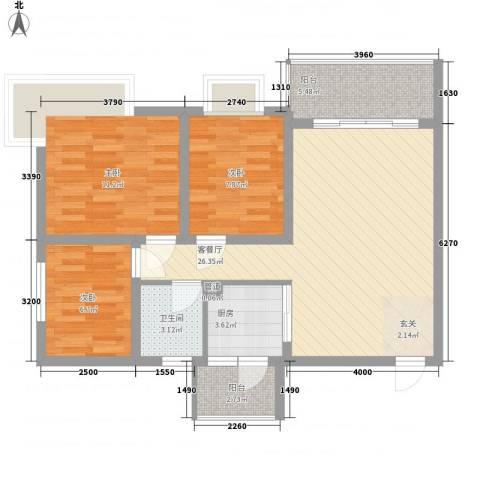 银海大酒店3室1厅1卫1厨97.00㎡户型图