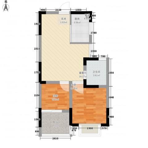 新都汇2室1厅1卫1厨65.00㎡户型图