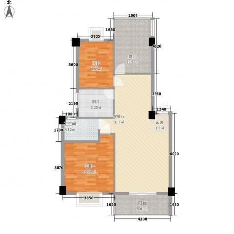 金尚风景(福满园)2室1厅1卫1厨81.01㎡户型图
