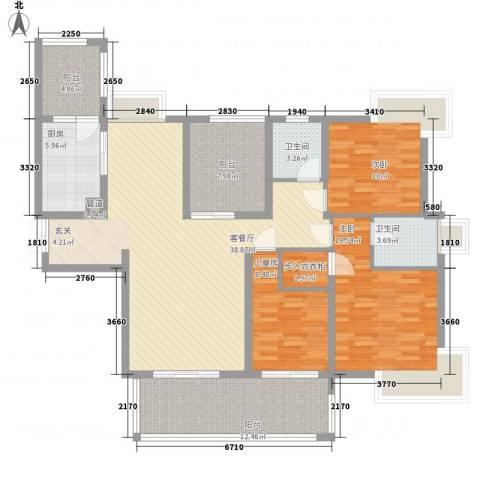 雅阁花园3室1厅2卫1厨161.00㎡户型图