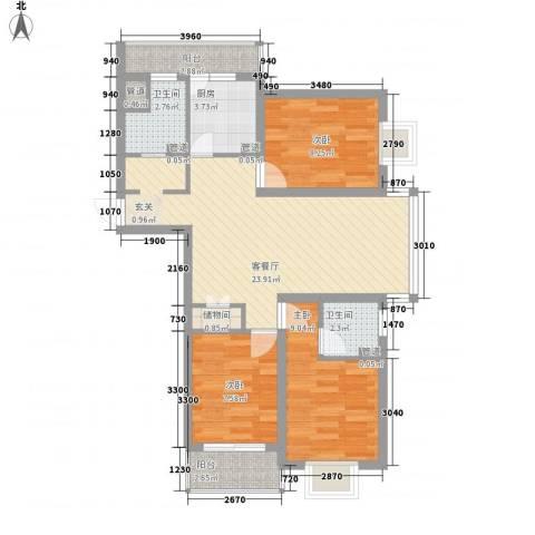 浦西新村3室1厅2卫1厨76.00㎡户型图
