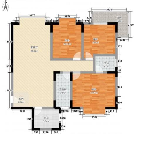 阳光公寓3室1厅2卫1厨148.00㎡户型图