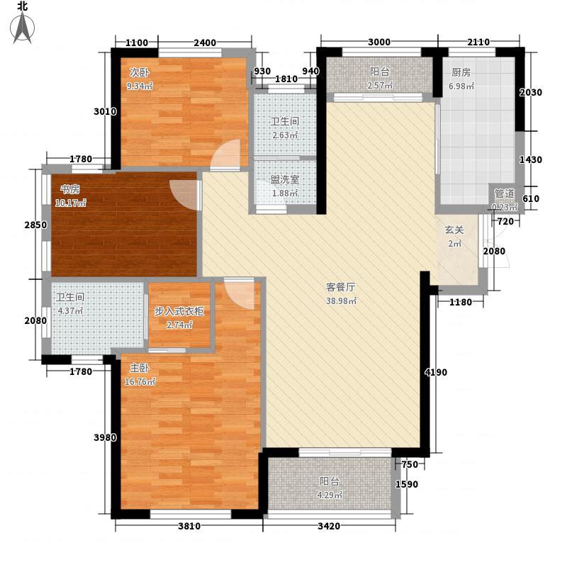 华仑港湾3室1厅2卫1厨143.00㎡户型图
