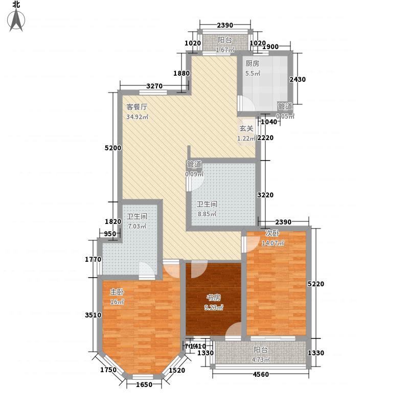 银仁御墅花园148.24㎡银仁御墅花园户型图a-F3室2厅2卫户型3室2厅2卫