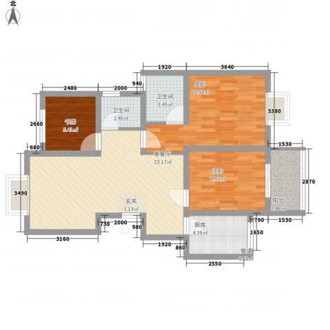 茶风新村3室1厅2卫1厨94.00㎡户型图