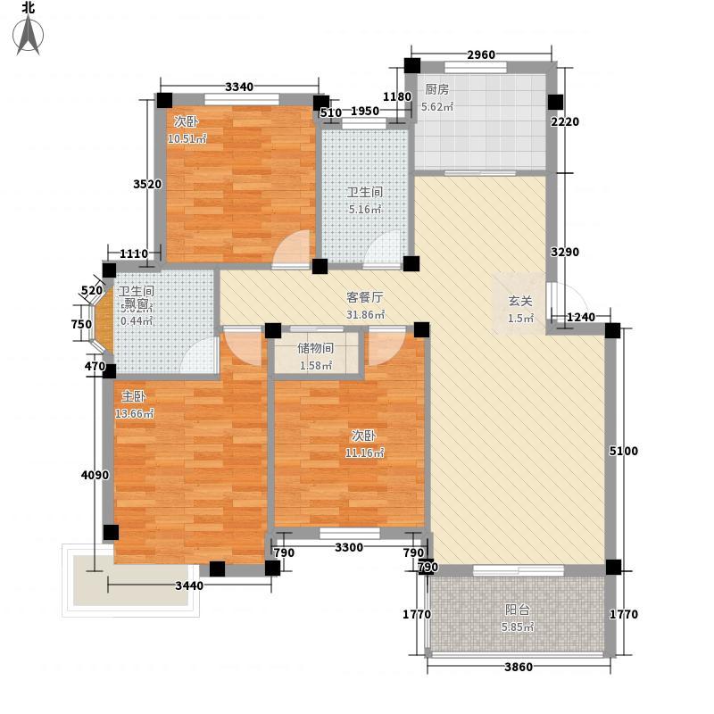 锦泽华府127.00㎡锦泽华府户型图2#楼标准层C户型3室2厅2卫1厨户型3室2厅2卫1厨