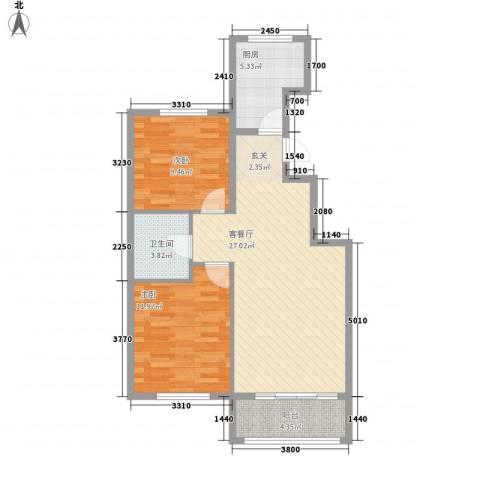 大阳公馆项目2室1厅1卫1厨87.00㎡户型图