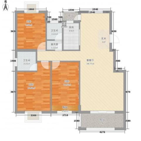 未来海岸3室1厅2卫1厨120.00㎡户型图