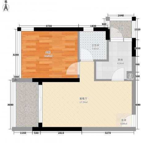 中惠阳光国际商城1室1厅1卫1厨56.00㎡户型图