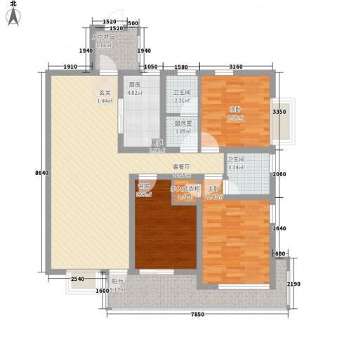 陆峰房产小区3室1厅2卫1厨126.00㎡户型图