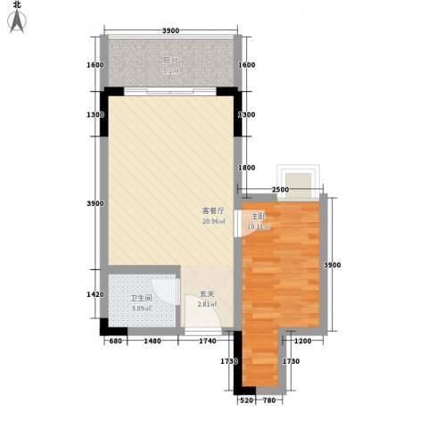 汇融海景酒店1室1厅1卫0厨57.00㎡户型图