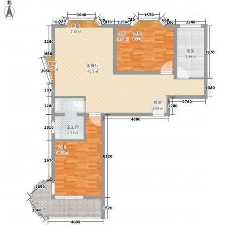 天歌大厦公寓2室1厅1卫1厨131.00㎡户型图