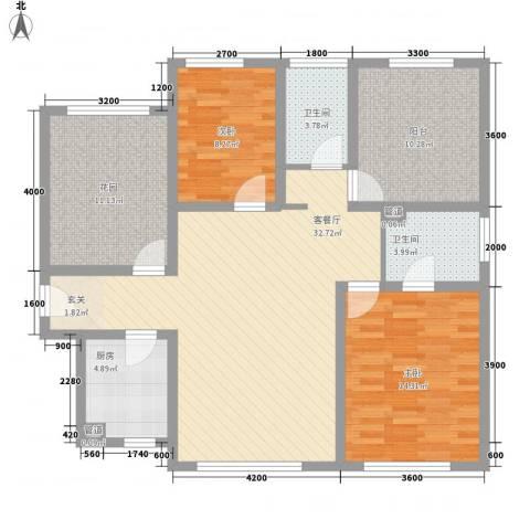 北方航空城2室1厅2卫1厨102.91㎡户型图