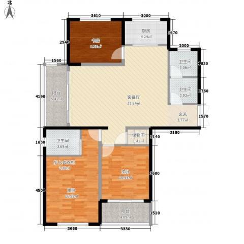 临桥苑3室1厅3卫1厨96.17㎡户型图
