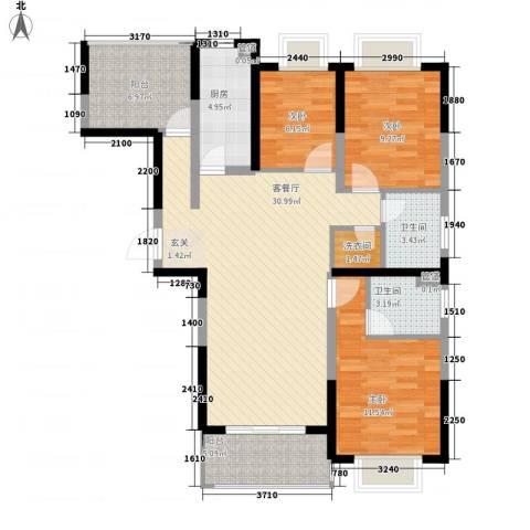 康桥半岛秀溪公寓3室1厅2卫1厨120.00㎡户型图