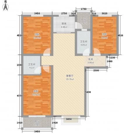 龙头花园3室1厅2卫1厨139.00㎡户型图