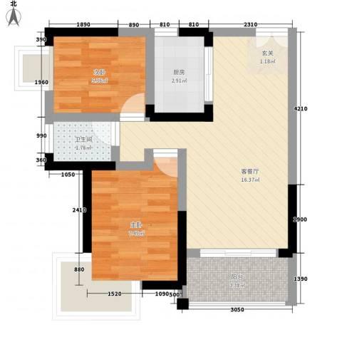 民生路国际信托宿舍2室1厅1卫1厨56.00㎡户型图