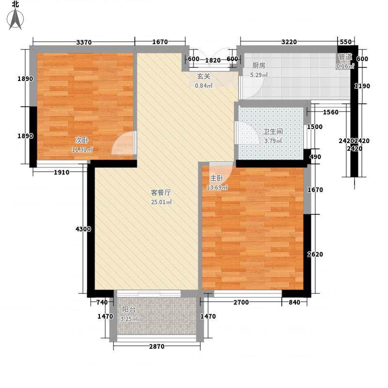 华仑港湾2室1厅1卫1厨89.00㎡户型图