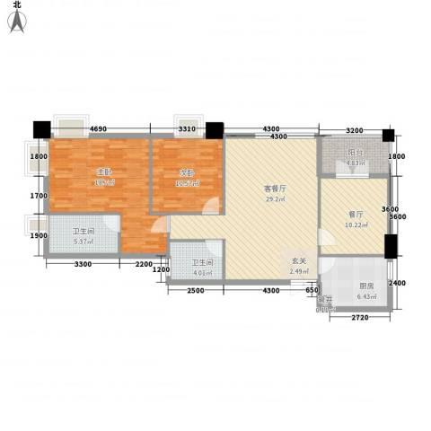 尚城・国际2室2厅2卫1厨124.00㎡户型图