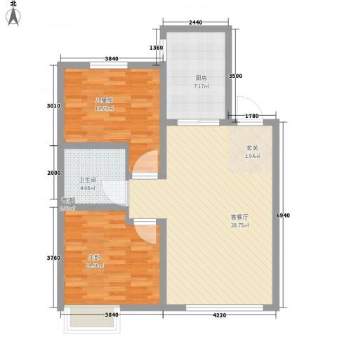 移动馨城2室1厅1卫1厨120.00㎡户型图