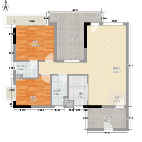 鼎湖森邻2室1厅2卫1厨106.00㎡户型图