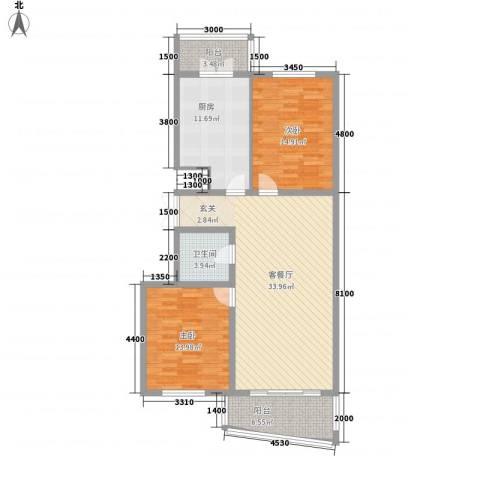 新天地家园2室1厅1卫1厨117.00㎡户型图