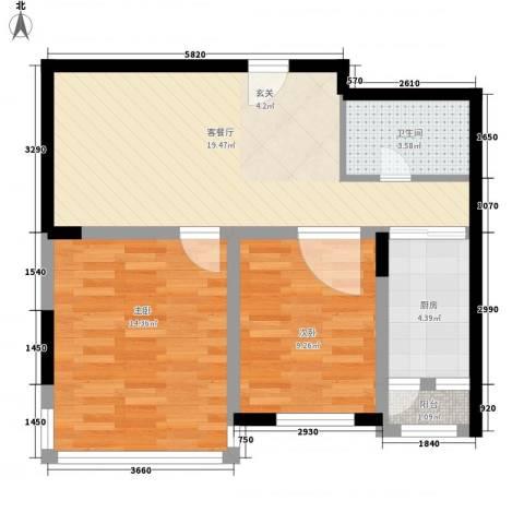 移动馨城2室1厅1卫1厨79.00㎡户型图
