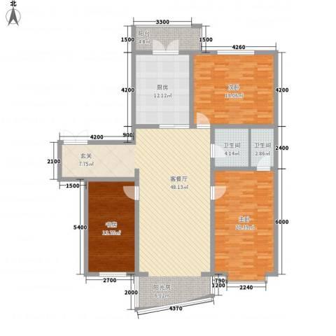 新天地家园3室1厅2卫1厨167.00㎡户型图