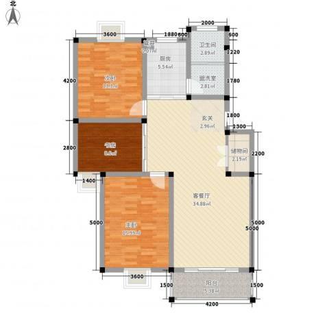 上林苑3室1厅1卫1厨115.00㎡户型图