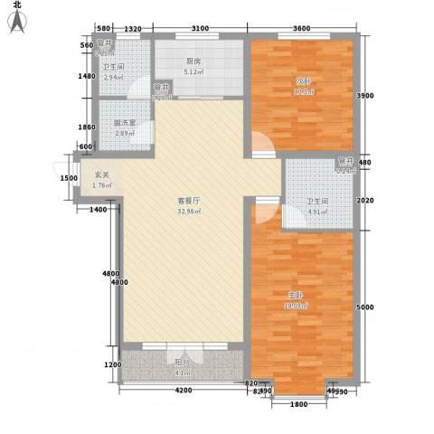 万景公寓2室1厅2卫1厨119.00㎡户型图