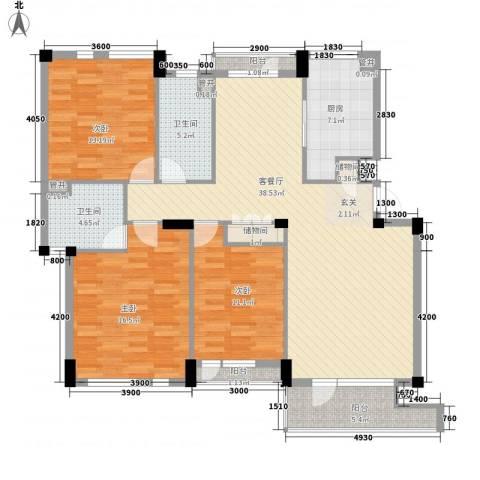 长城都市阳光3室1厅2卫1厨126.00㎡户型图