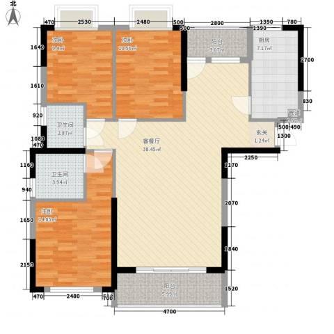 鑫龙大厦3室1厅2卫1厨134.00㎡户型图