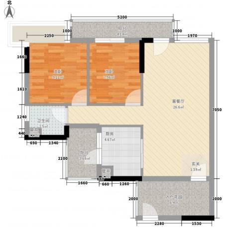 鼎湖森邻2室1厅1卫1厨94.00㎡户型图