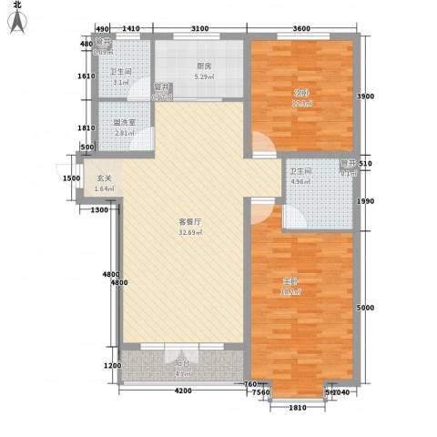 丽景苑2室1厅2卫1厨119.00㎡户型图
