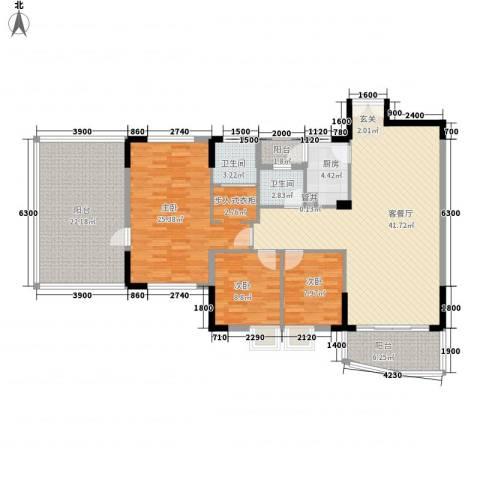 康乐楼3室1厅2卫1厨124.69㎡户型图