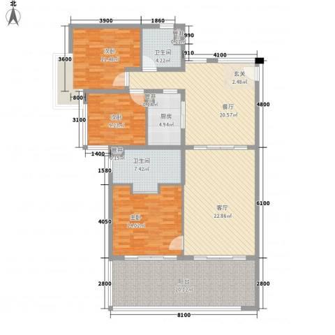 华润・石梅湾九里3室2厅2卫1厨123.00㎡户型图