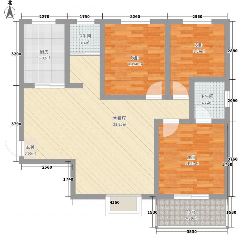 揽翠城113.00㎡一期E户型3室2厅2卫1厨